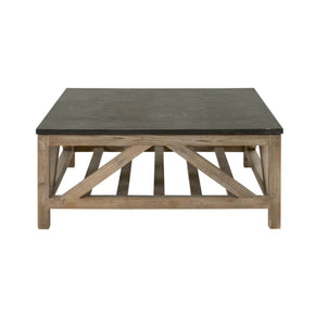 Square Coffee Table Blue Stone / Smoke Gray Reclaimed Wood