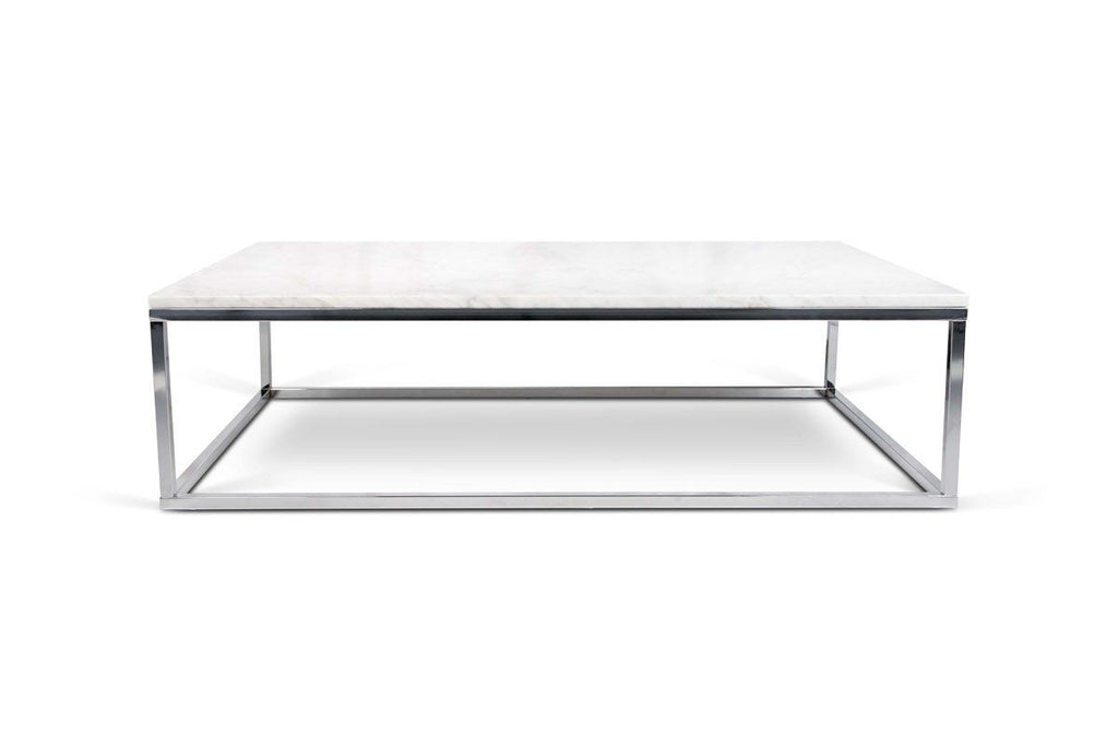 Prairie 47X30 Marble Coffee Table White Top/chrome Legs