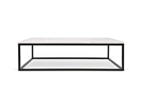 Prairie 47X30 Marble Coffee Table White Top/black Lacquered Steel Legs