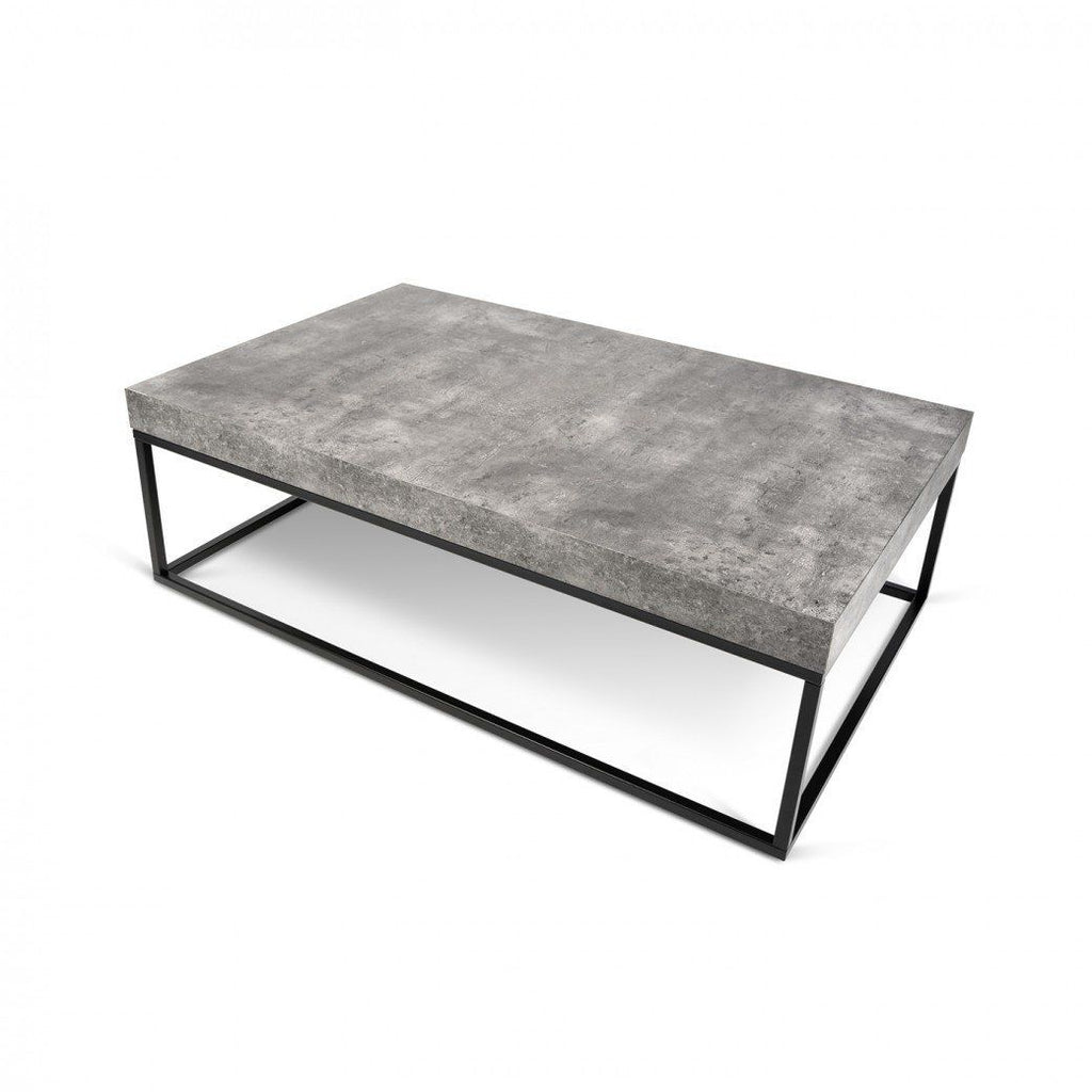 Petra 47X30 Coffee Table Faux Concrete Top / Black Legs