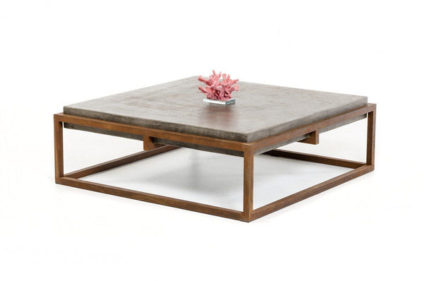 Industrial Modern Dark Grey Concrete And Rust Color Coffee Table