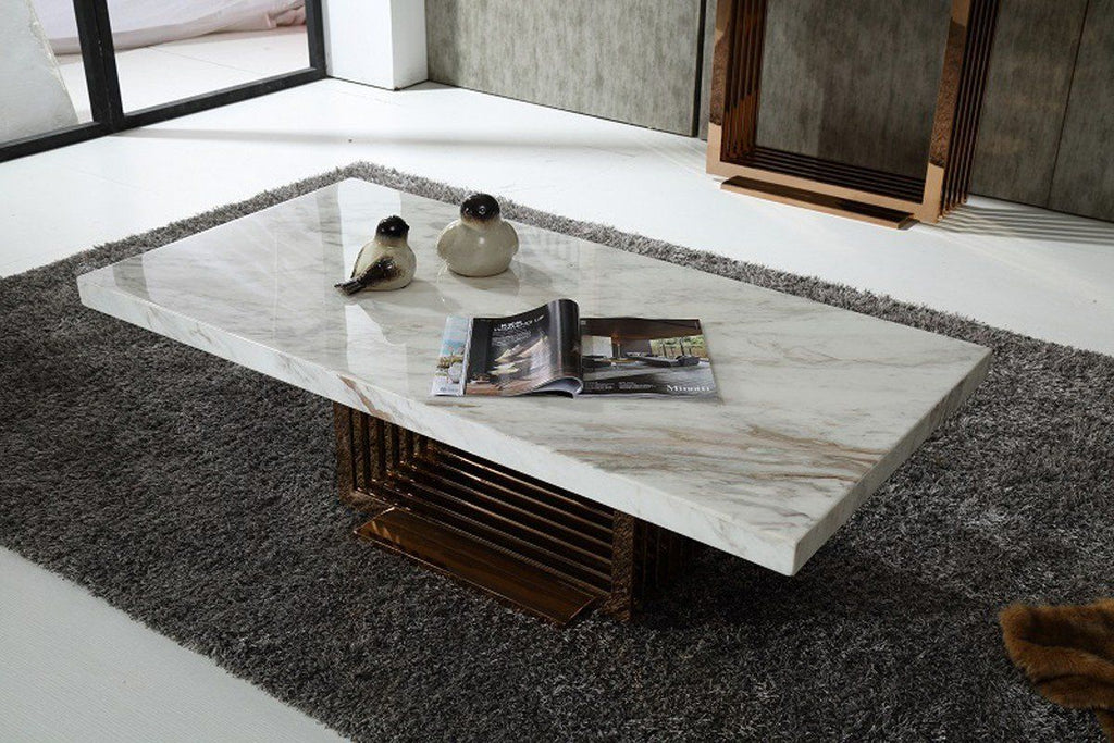 Modrest Kingsley Modern Marble & Rose Gold Coffee Table