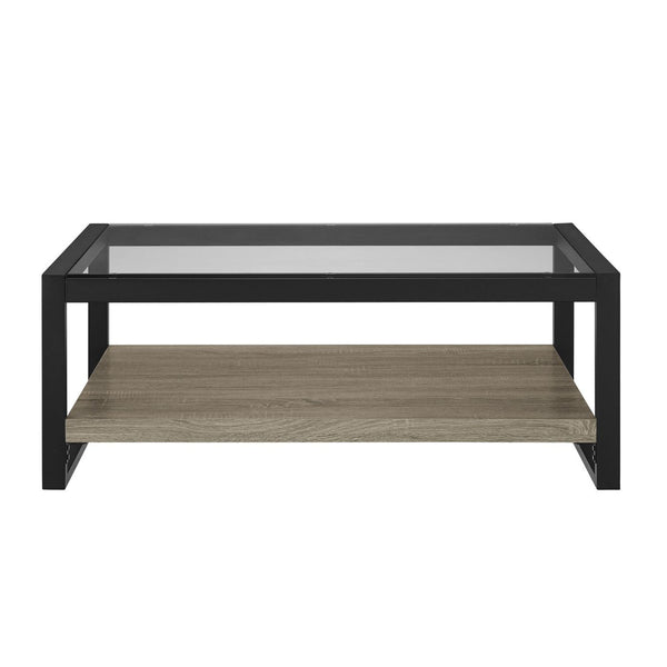 48 Urban Blend Coffee Table With Glass Top - Driftwood/black