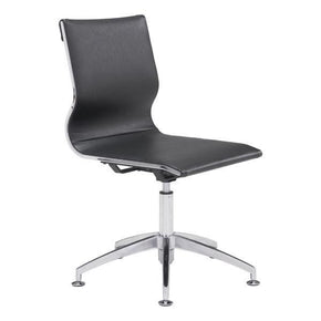 Glider Conference Chair Black Chromed Steel Brushed Aluminum