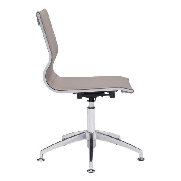 Glider Conference Chair Taupe Chromed Steel Brushed Aluminum