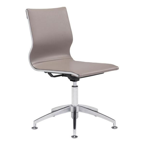 zuo modern zuo 100379 glider conference chair taupe chromed steel