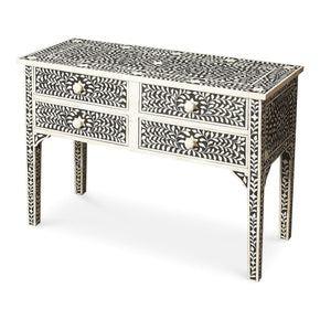 Vivienne Traditional Rectangular Bone Inlay Console Table Black