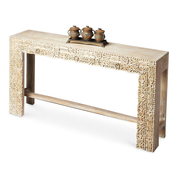 Traditional Rectangular Console Table White Recycled Wood
