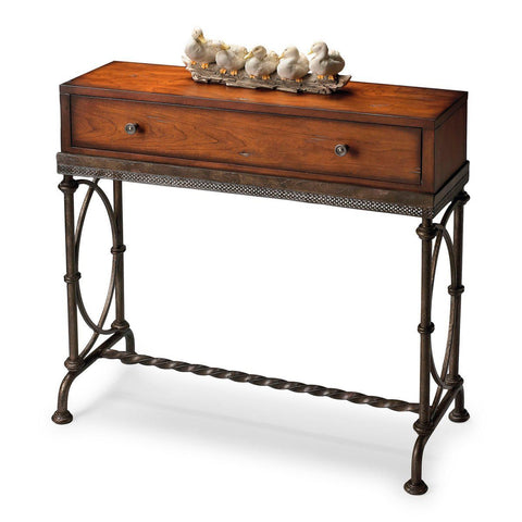 Josef Transitional Rectangular Distressed Console Table Cherry