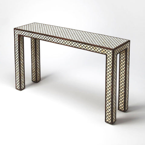 Basan Transitional Rectangular Bone Inlay Console Table Multi-Color