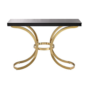 Beacon Towers Console Table In Gold Plate And Black Glass Plate,black