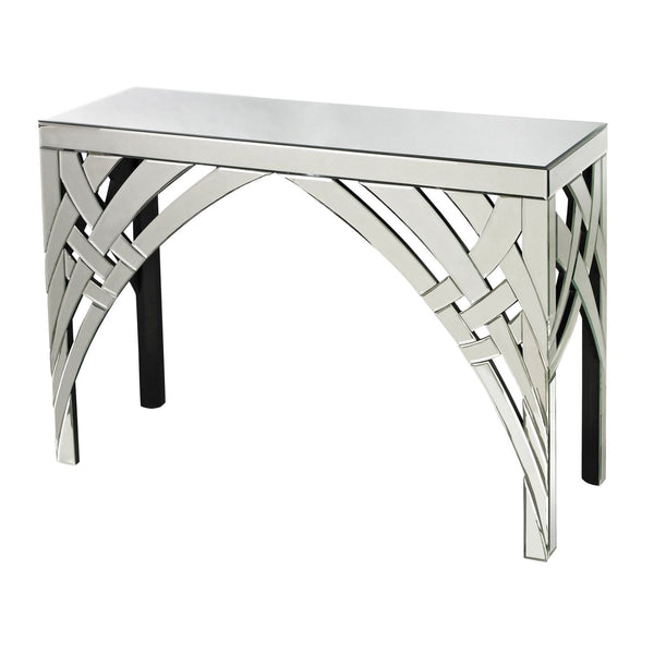 Ribbons Curved Mirrored Console Clear Table