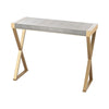 Sands Point Console Table Gold And Grey Faux Leather