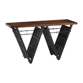 Industrial Era Console With Iron Stretcher Restoration Black,walnut Table