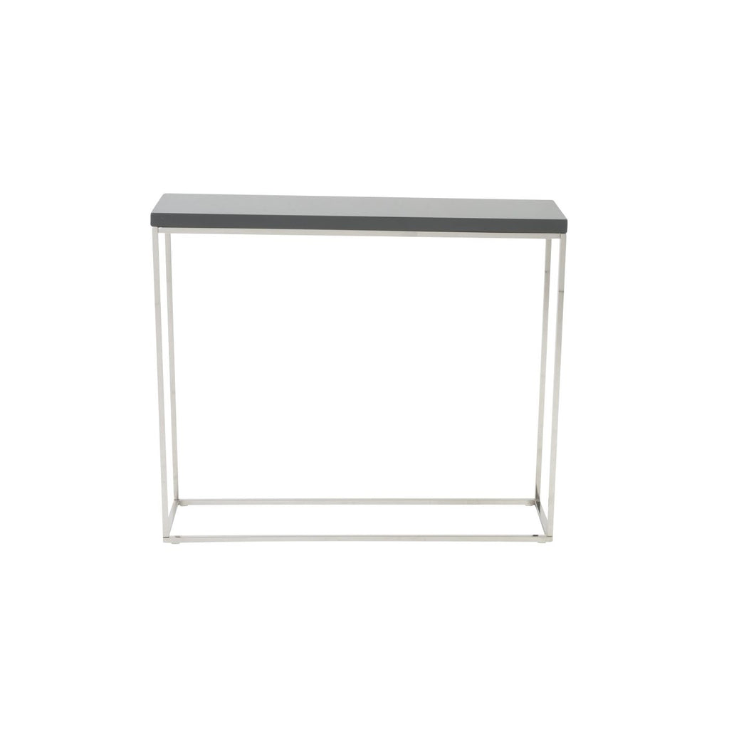 Euro Style Teresa Console Table in Gray Lacquer with Polished ...