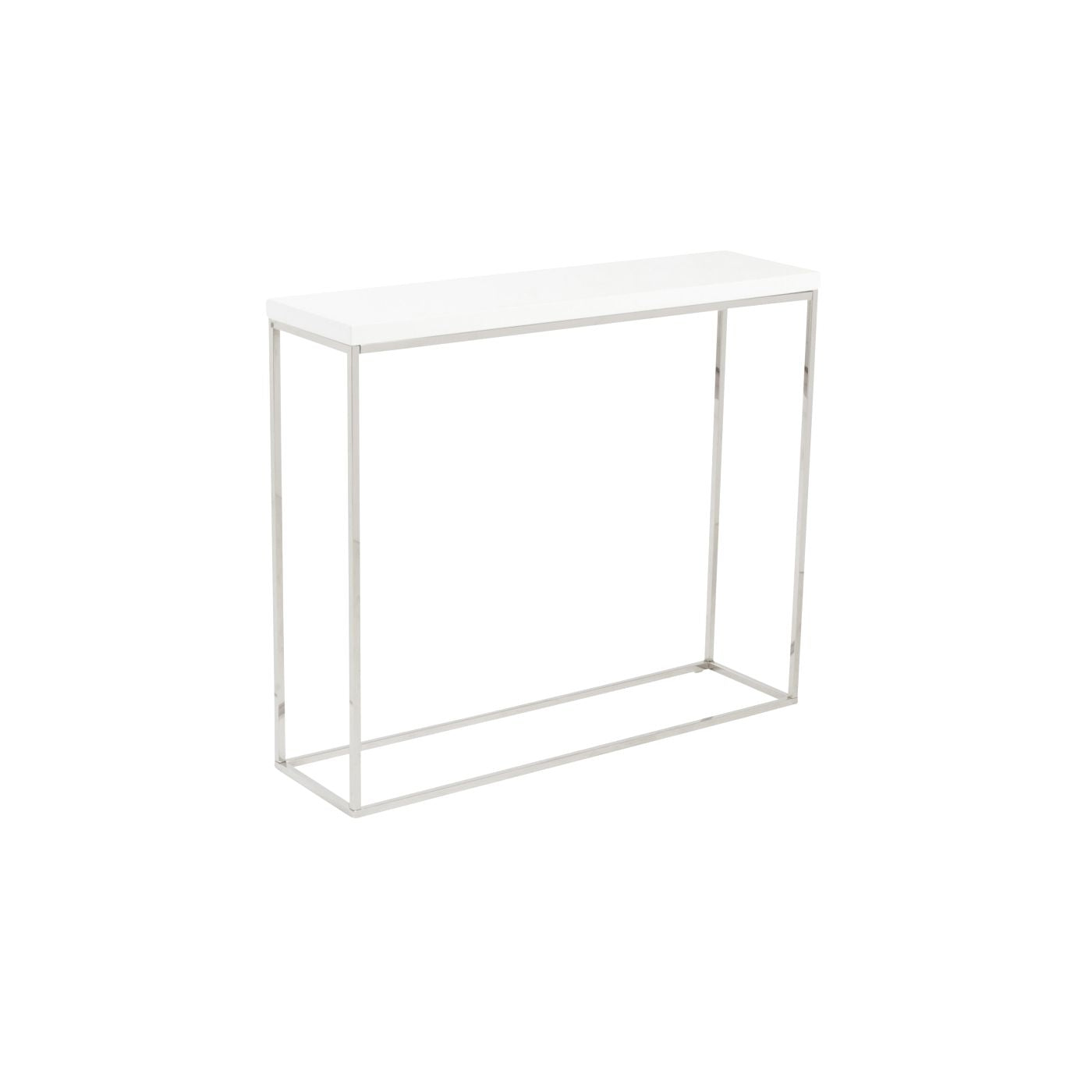 Euro Style Teresa Console Table in White Lacquer with Polished ...