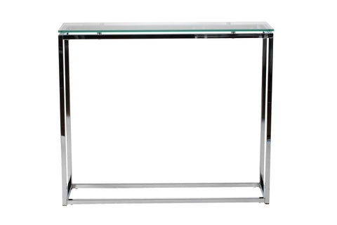 Sandor Console Table With Clear Tempered Glass Top And Chrome Frame