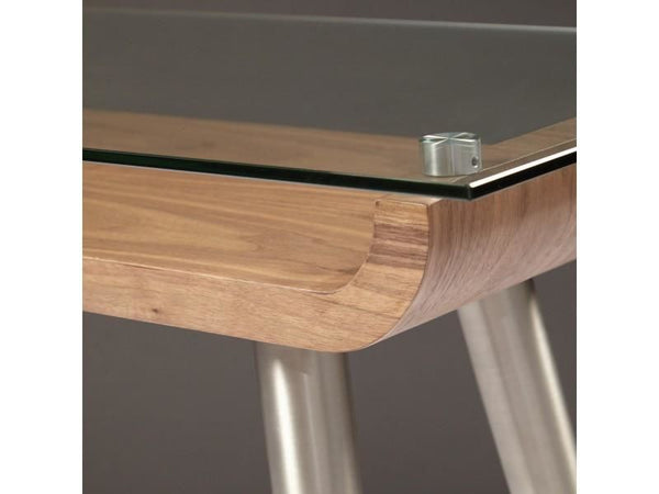 ... Esmoriz 48 Console Table In American Walnut With Clear Tempered Glass  Top And Matte Black Powder ...
