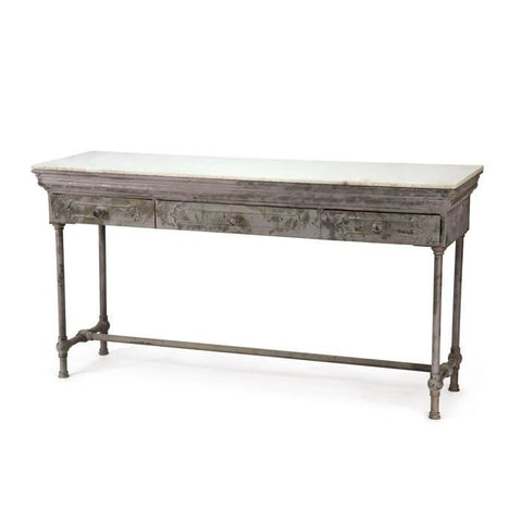 Artisanal Table Distressed Wood / White Marble Console