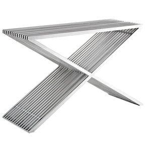 Press Modern Console Table Brushed Stainless Steel Silver