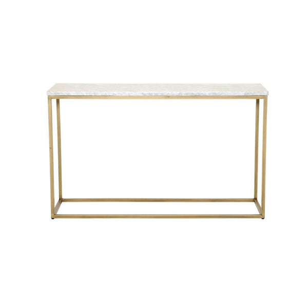 Carrera Console Table White Marble / Brushed Gold