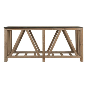 Blue Stone Console Table / Smoke Gray Reclaimed Wood