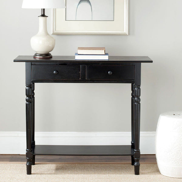 Rosemary 2 Drawer Console Distressed Black Table