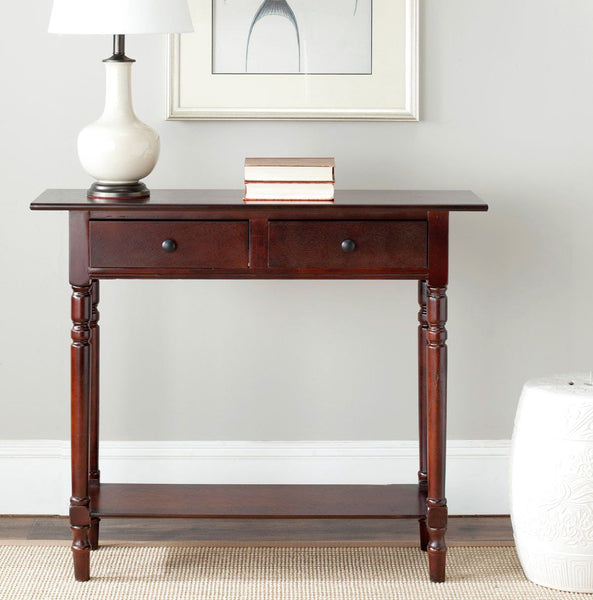 Rosemary 2 Drawer Console Dark Cherry Table