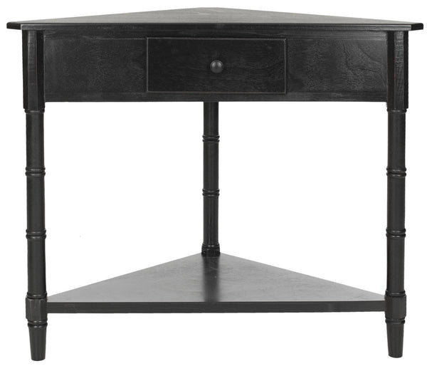 Gomez Corner Table With Storage Drawer Distressed Black Console
