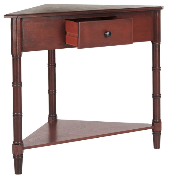 Gomez Corner Table With Storage Drawer Red Console