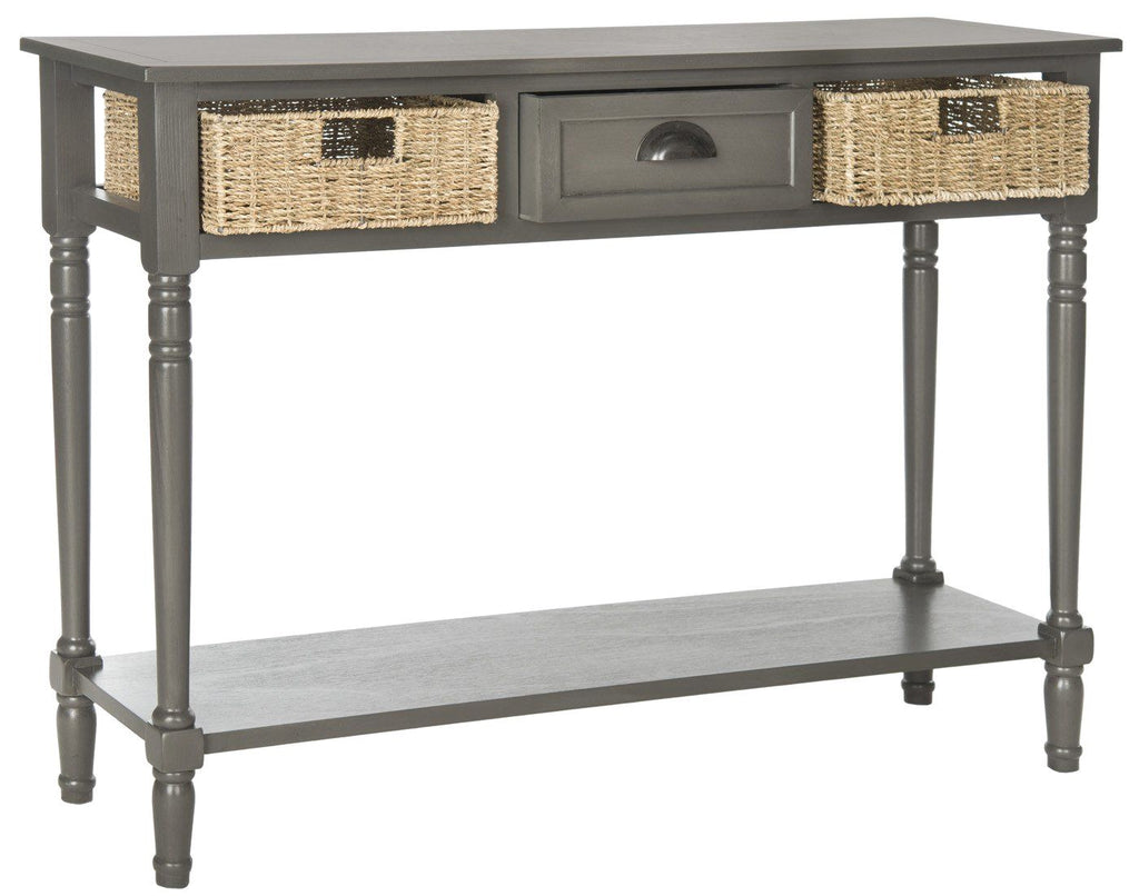Buy safavieh amh5730a winifred wicker console table with storage grey at contemporary furniture warehouse