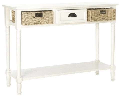 Winifred Wicker Console Table With Storage White