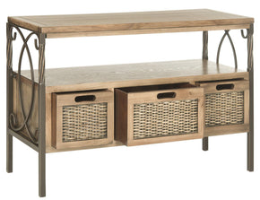 Joshua 3 Drawer Console Antique Pewter/oak Table