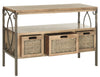 Joshua 3 Drawer Console Antique Pewter/Oak