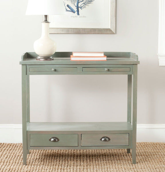 Console Tables - Safavieh AMH6571B Peter Console With Storage Drawers French Grey | 683726708841 | Only $279.80. Buy today at http://www.contemporaryfurniturewarehouse.com