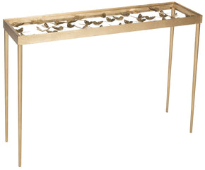 Rosalie Butterfly Console Antique Gold Leaf Table