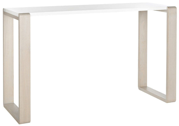 Bartholomew Lacquer Console Table White & Grey