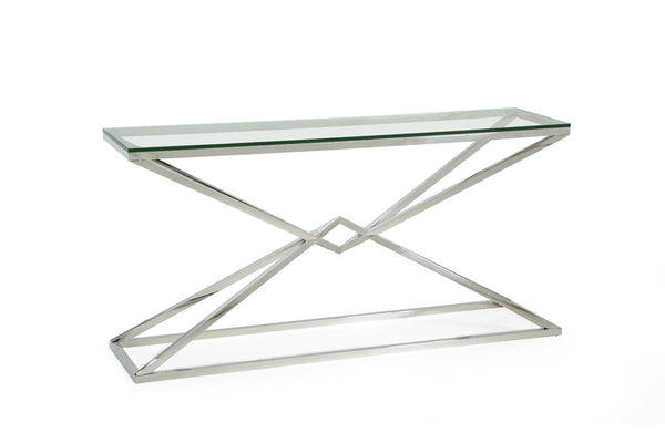 Modrest Xander Modern Glass U0026 Stainless Steel Console Table