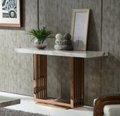 Kingsley Modern Marble & Rose Gold Console Table