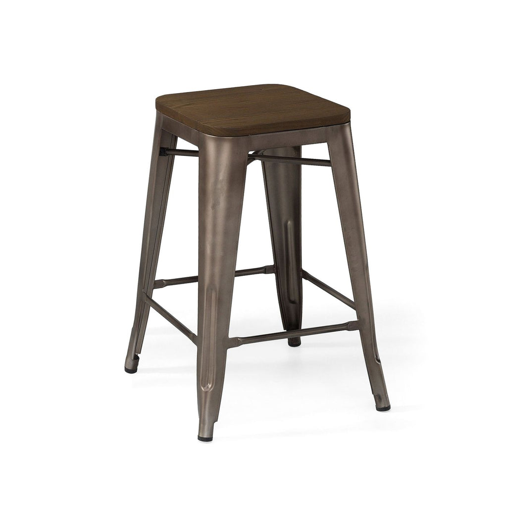Sundsvall Rustic Matte Gunmetal + Elm Wood Seat Steel Stackable Counter  Stool (Set Of 4 ...