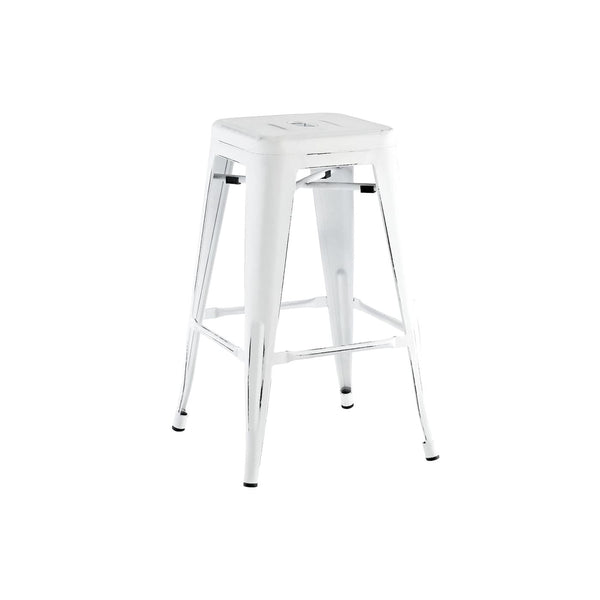 Sundsvall Vintage Matte White + Black Steel Stackable Counter Stool (Set Of 4) Chair