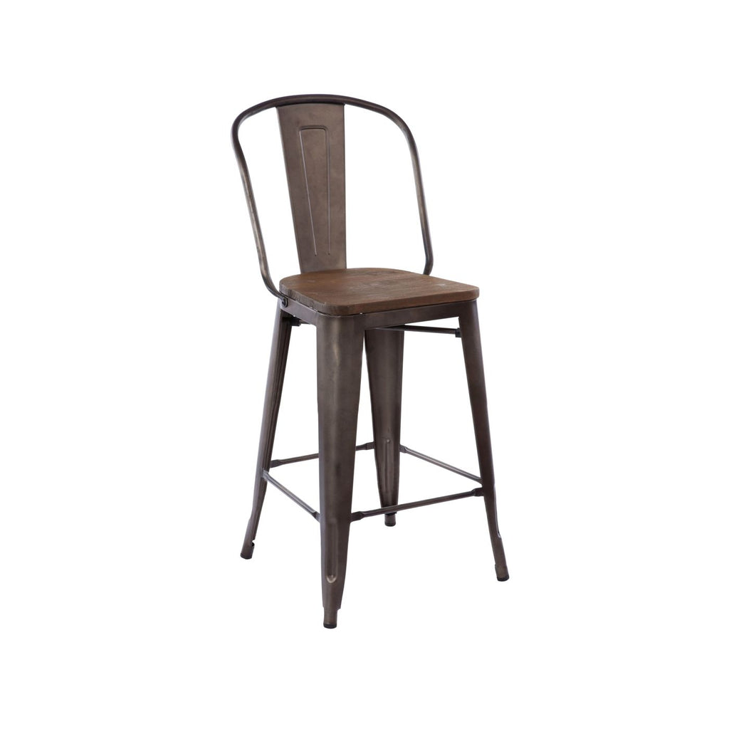 Sundsvall Rustic Matte + Elm Wood Seat Steel Counter Chair 24 (Set Of 4)