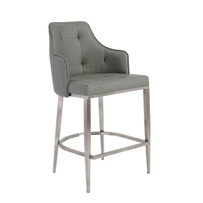 Aaron Bar Stool In Gray With Brushed Stainless Steel Legs Counter Chair