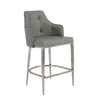 Aaron Bar Stool in Gray with Brushed Stainless Steel Legs