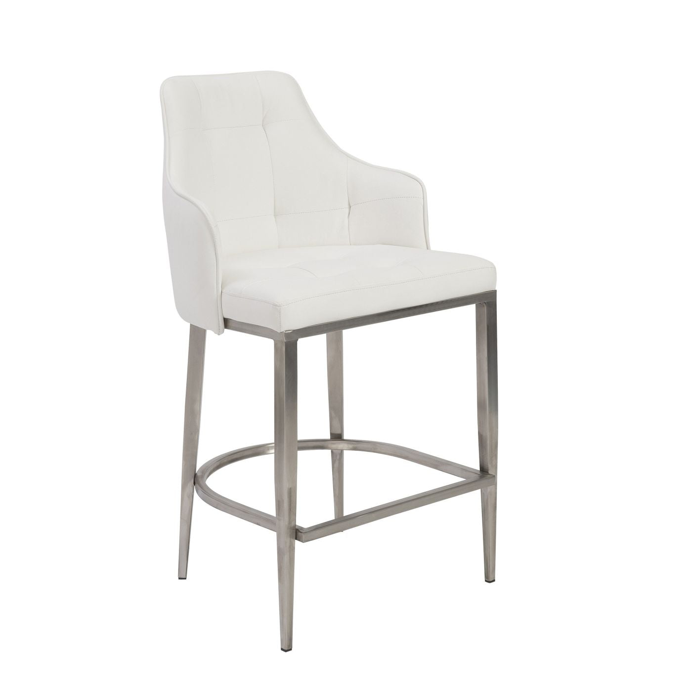 Strange Aaron Bar Stool In White With Brushed Stainless Steel Legs Creativecarmelina Interior Chair Design Creativecarmelinacom