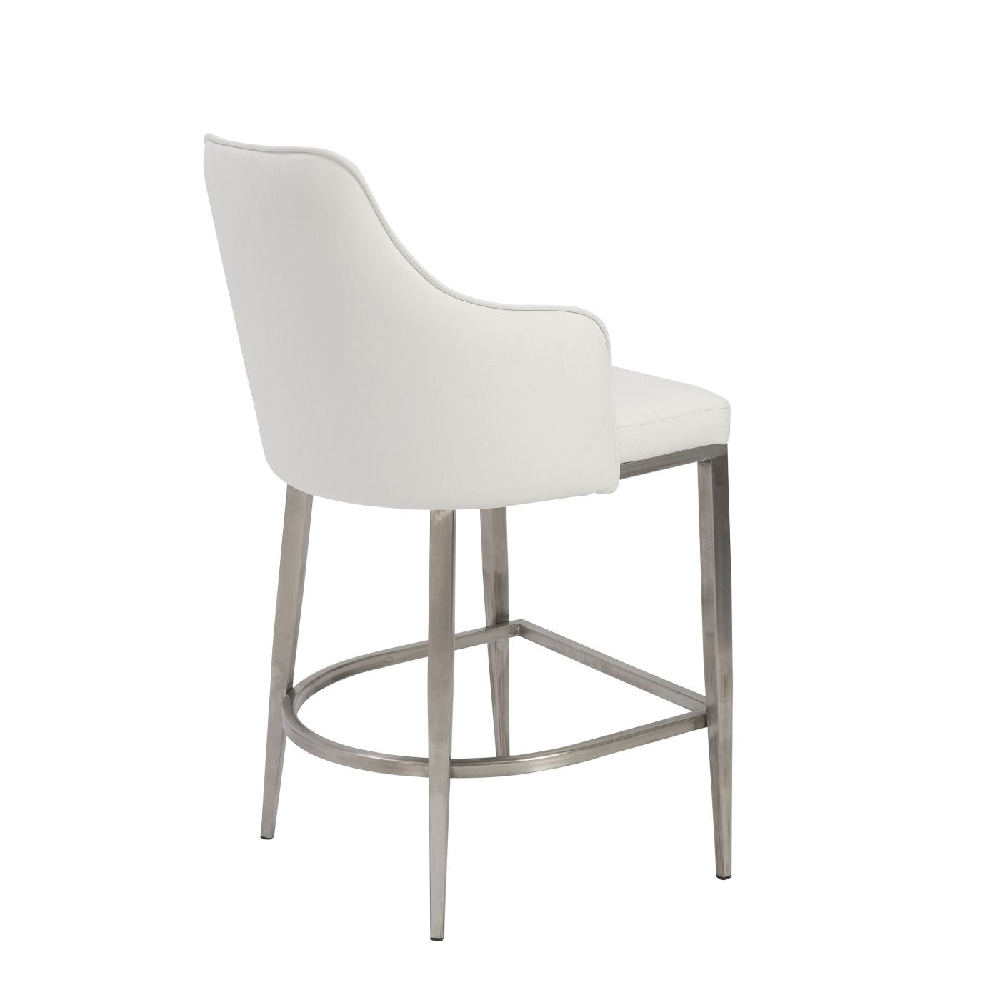 Euro Style Aaron Bar Stool In White With Brushed Stainless