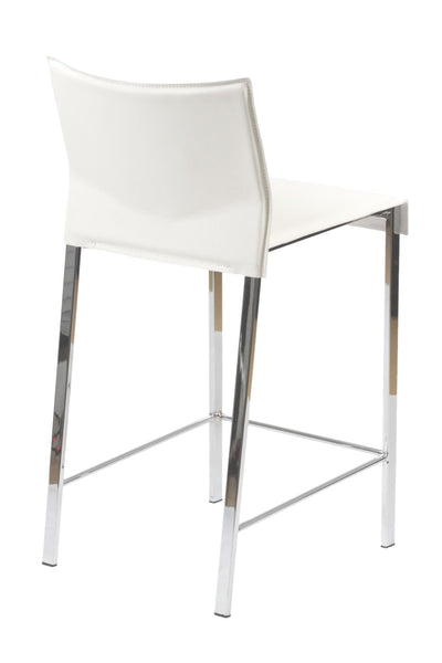 Riley Counter Stool In White With Chrome Legs - Set Of 2 Chair