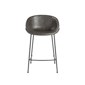 Zach-C Counter Stool With Dark Gray Leatherette And Matte Black Powder Coated Steel Frame Legs - Set Of 2 Chair