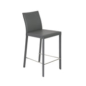 Hasina Counter Stool In Gray With Polished Stainless Steel Legs - Set Of 2 Chair