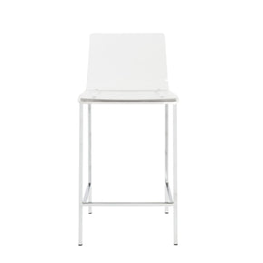 Chloe Counter Stool In Clear Acrylic With Brushed Aluminum Legs - Set Of 2 Chair